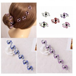 6Pcs Mini Headwear Rhinestone Crystal Hair Claws Snowflake Hair Pins and Clips
