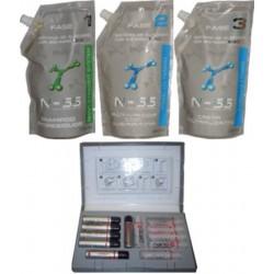 TCQ Relaxer NSS Kit Cabello Teñido 1000ml más Cortex Nanokeratinization 12 ampollas