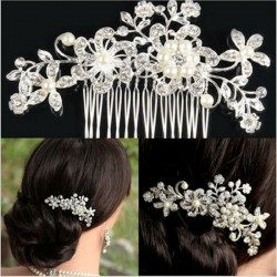 Bridal Wedding Flower Crystal Rhinestone Hair Clip Comb Pin Diamante Silver