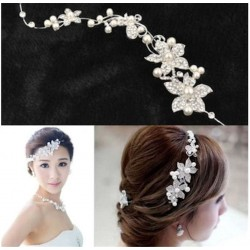 Crystal Rhinestone Faux Pearl Flower Party Bridal Headband Tiara Clear