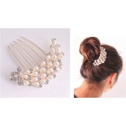 Girl's Rhinestone Bow Faux Pearl Wedding Party Hair Comb Hairpin Clip