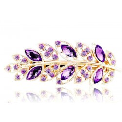Leaf Crystal Rhinestone Barrette Hairclip (Purple)
