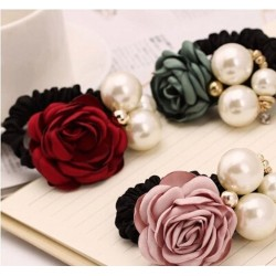 Anillo De Perlas De Alta Elasticidad Cuerda De Pelo Camellia Flor De Diamantes De Imitación