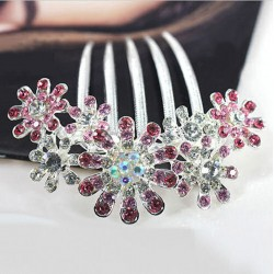 Womens Hair Accessories Crystal Rhinestone Petal Tuck Comb Flower Hair Pin Hair Clip