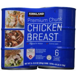 Kirkland Signature Pechuga de pollo, empacada en agua, trozo de primera calidad , 6- 12.5-onzas latas