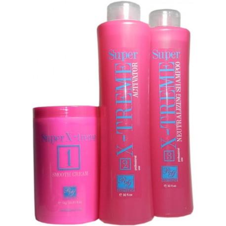 RG Cosmetics Keratin Super X-Treme Kit (Smooth Cream 1kg, Activator 32oz, Neutralizing 32oz)