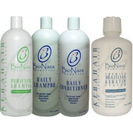 Bio Naza KeraHair Group (1)Purifying 32oz (1)KeraHair Keratin 32oz (1)Daily Shampoo 32oz (1)Daily Conditioner 32oz.