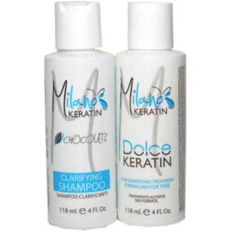 Milano Keratin Dolce Keratin Kit Formaldehyde Free 118ml/4oz (2 items)
