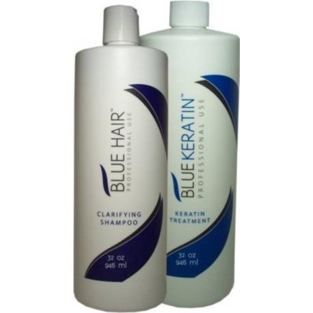 Blue Hair Smoothing Keratin Treatment Kit 1)Clarifying Shampoo 1)Blue Keratin 32oz each
