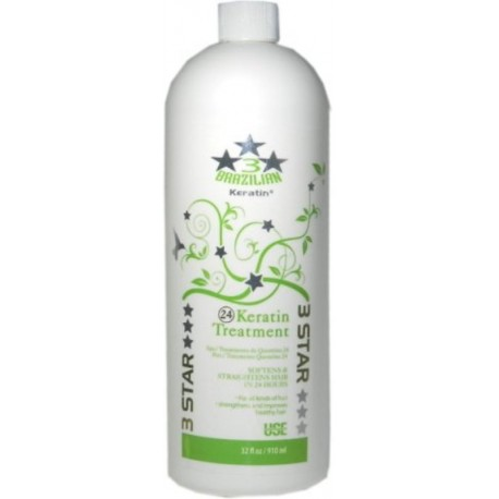 Three Star 24 Keratin Treatment 32 oz. (softens and straightens hair in 24 hours)