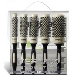 Termix Evolution Soft Estuche de 5 Cepillos para Pelo Fino (17mm, 23mm, 28mm, 32mm and 43mm)