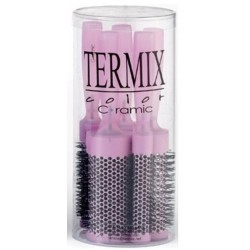 Termix Hairbrush Ceramic Ionic Color Fuchsia Case of 5 Hairbrushes (17mm, 23mm, 28mm, 32mm and 43mm)